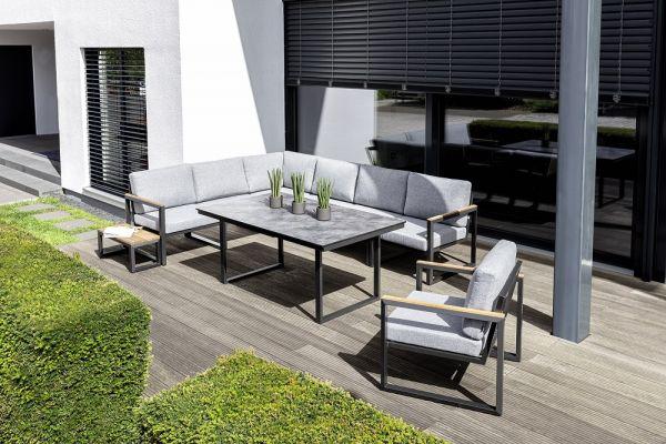 KETTLER OCEAN SKID Lounge-Set inkl. Sessel und Tisch, anthrazitgrau/hellgrau-meliert/Teak