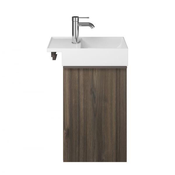 Burgbad Yumo Mineralguss-Handwaschbecken 50,5x26,5cm mit Waschtischunterschrank und 1 Tür