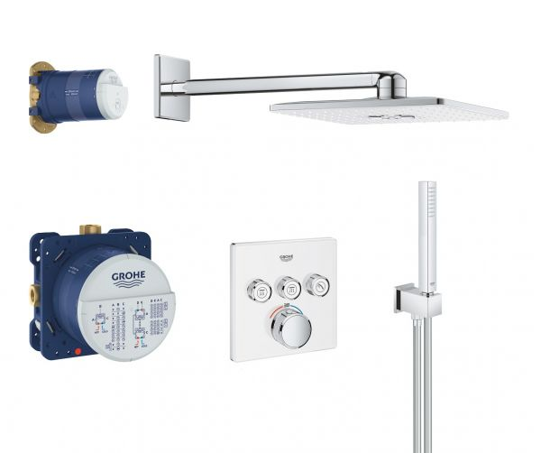 Grohe Grohtherm SmartControl Duschsystem mit Rainshower 310 SmartActive Cube, chrom/moon white
