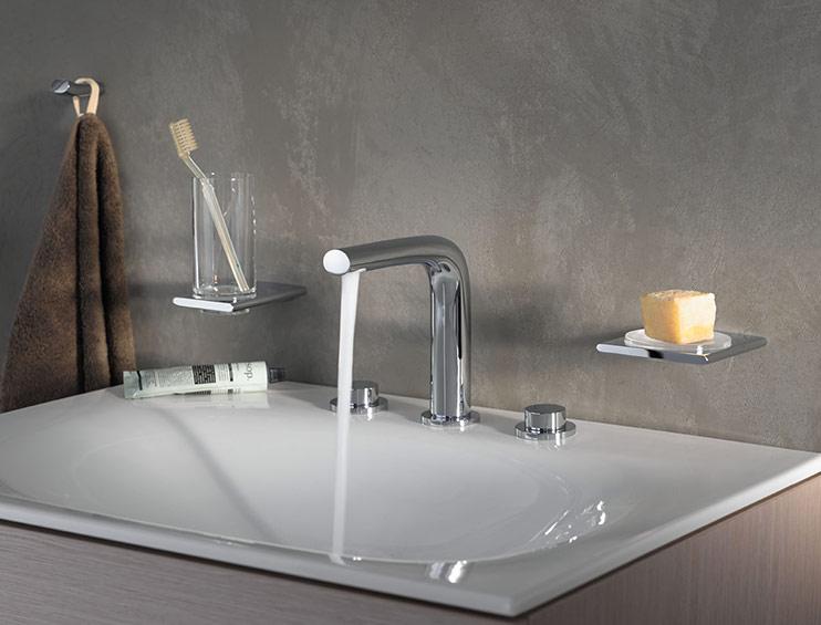 keuco edition 400 dreiloch waschtischarmatur 150 ohne ablaufgarnitur chrom 51515010100. Black Bedroom Furniture Sets. Home Design Ideas