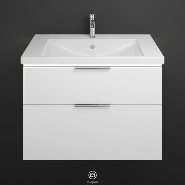 Burgbad Eqio Keramik-Waschtisch mit Waschtischunterschrank und LED-Beleuchtung SEZA093F2012C0001G0146