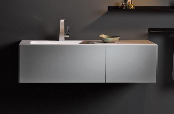 Alape WP.Folio7 Waschplatz links rechteckig 125x50cm weiß, mit Hahnloch, inkl.Waschtischunterschrank