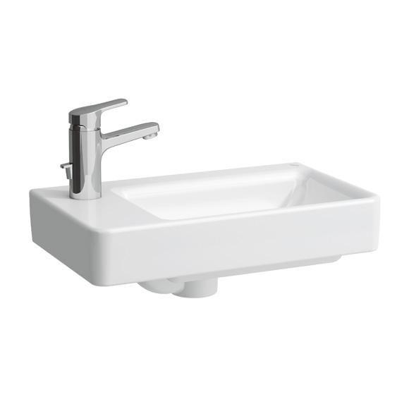Laufen Pro Handwaschbecken Becken rechts, asymmetrisch weiß mit 1 Hahnloch links, B:48 T:28cm