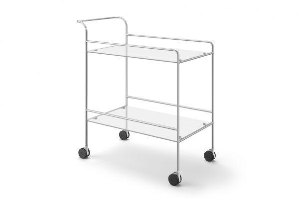 ZACK MECOR Servierwagen, edelstahl seidenmatt/Glas