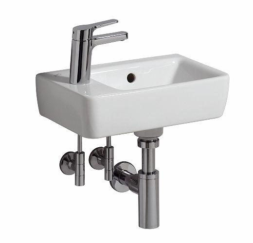 Geberit Renova Nr.1 Comprimo Handwaschbecken 40x25cm, Hahnloch links, mit Überlauf
