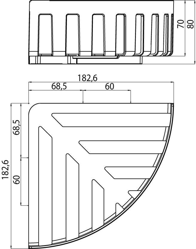 354500133 EMCO System 2 Eckwandkorb Eckmaß 180 mm chrom