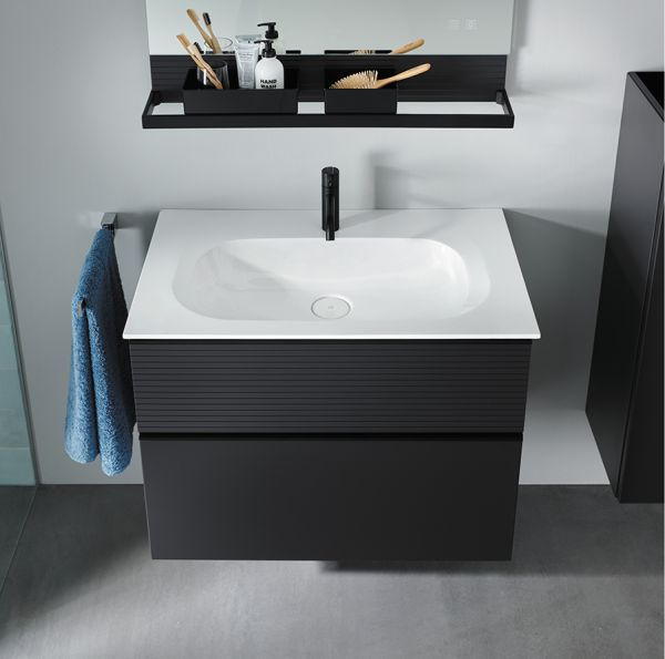 Burgbad Fiumo Waschtisch inkl. Waschtischunterschrank mit Plisséefront, 82x49cm graphit softmatt SFXN082F3958C0001G0200