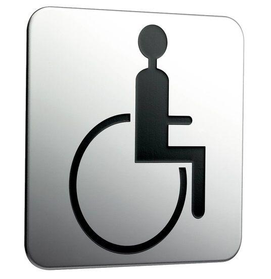 emco system 2 Türschild Rollstuhlfahrer, zum Aufkleben, chrom