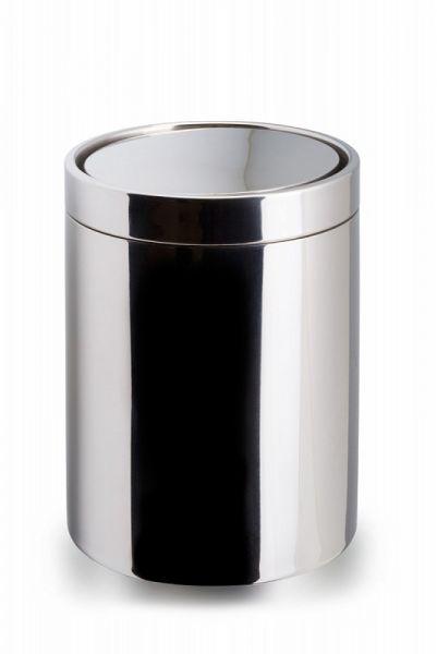 lineabeta SAON Tisch-Abfalleimer rund mit Schwingdeckel, edelstahl poliert