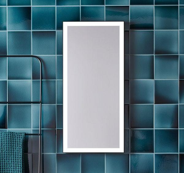 Alape SP.FR375.S1 Spiegel 37,5x80cm, 4-seitiges indirektes LED-Licht, mattschwarz pulverbeschichtet