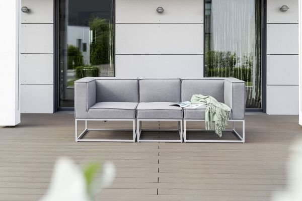 KETTLER MODENA MODULAR Casual Dining 3-Sitzer Set Sunbrella®, silber/flanelle