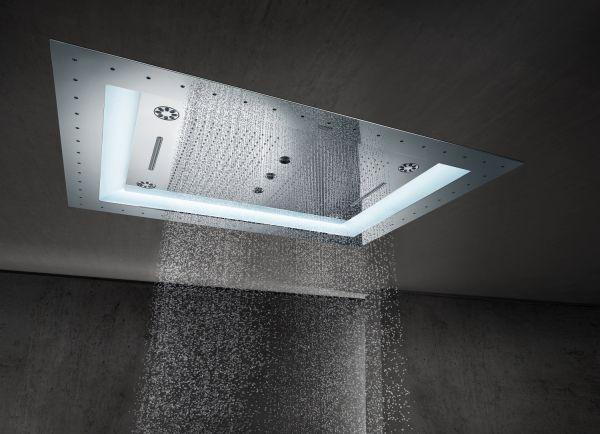 """Grohe Rainshower F-Series 40"""" AquaSymphony Deckenbrause 6+ Strahlarten mit Licht, chrom"""