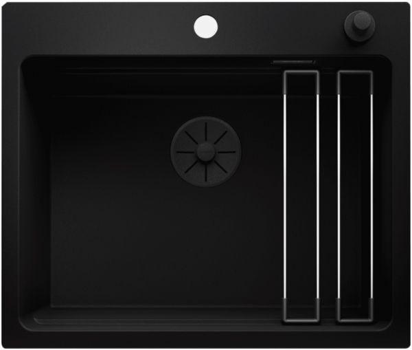 Blanco Etagon 6 Granitspüle SILGRANIT® PuraDur®, mit Ablauffernbedienung, schwarz Black Edition