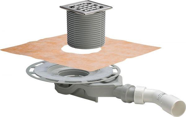 Viega Advantix-Badablauf Einbauhöhe ab 62mm, Aufsatz mit Rahmen Edelstahl, Sanierungsmodell