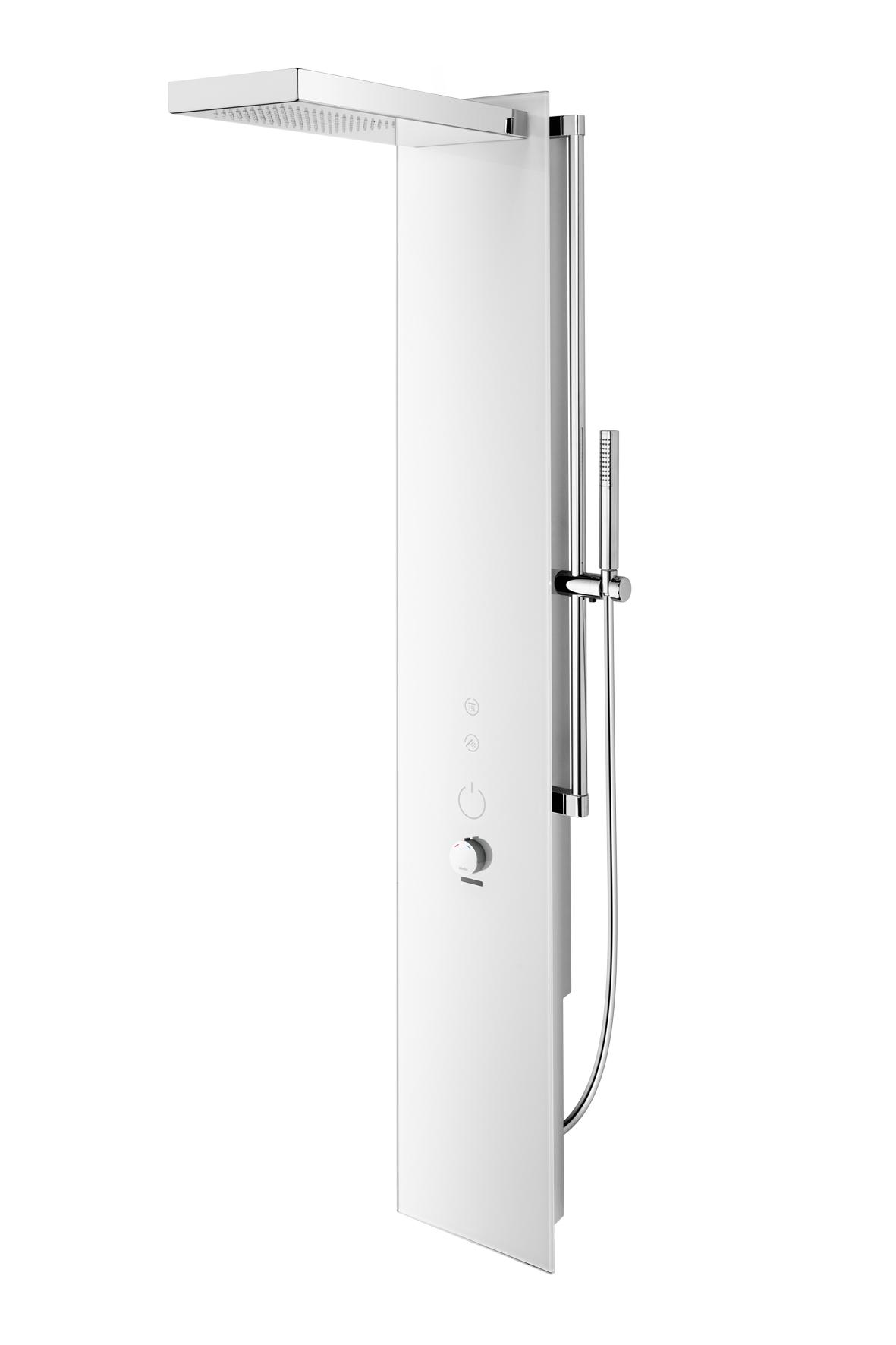 wimtec ocean p7 12 v elektronisches duschpaneel mit thermostat f r batteriebetrieb in glas. Black Bedroom Furniture Sets. Home Design Ideas