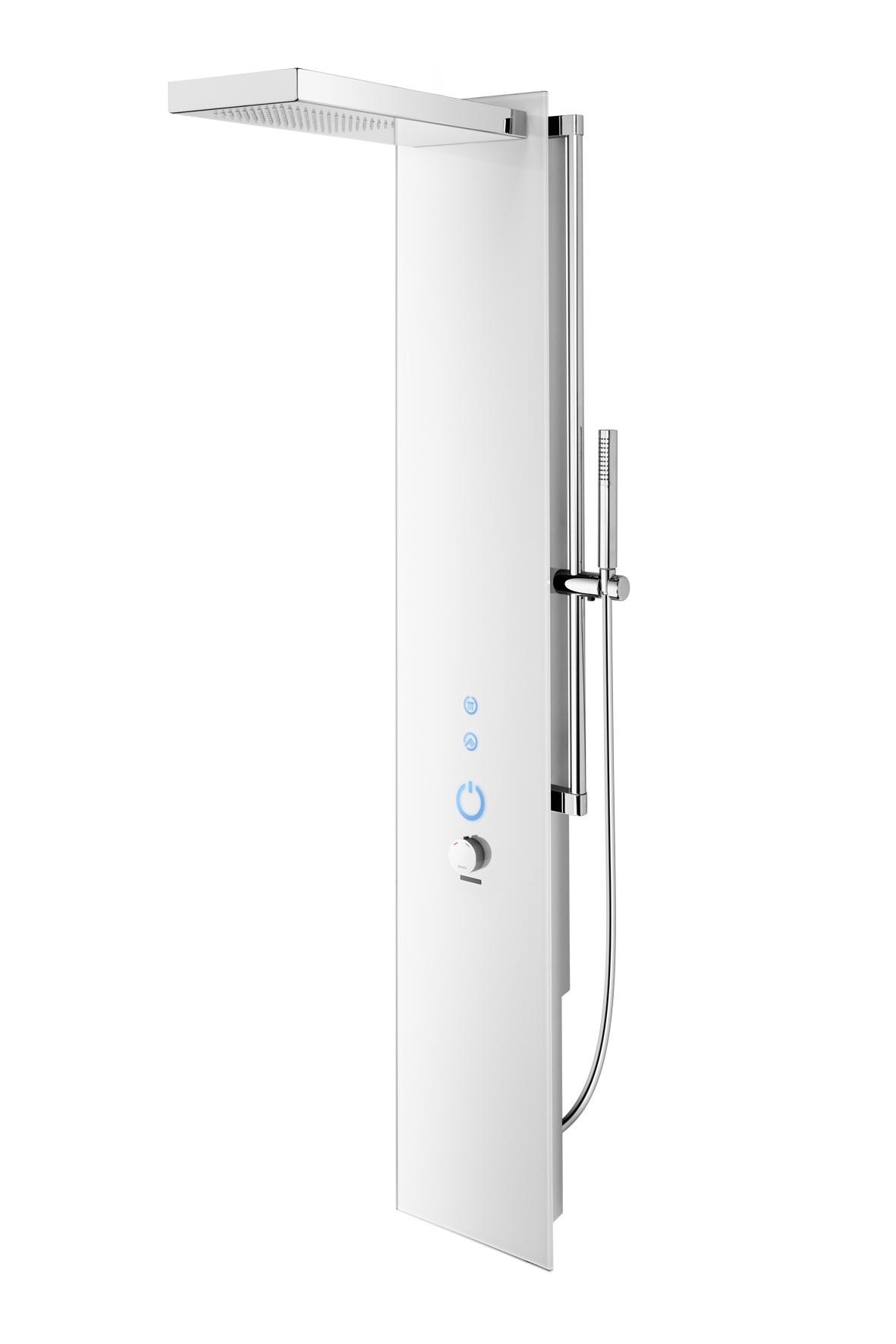 wimtec ocean p7 elektronisches duschpaneel mit thermostat f r netzbetrieb 12v glas wei. Black Bedroom Furniture Sets. Home Design Ideas