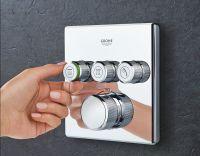 Grohe Grohtherm SmartControl Thermostat mit 3 Absperrventilen, Fertigmontageset eckig, chrom