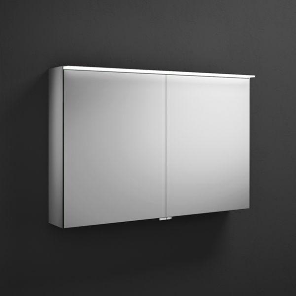 Burgbad Yumo Spiegelschrank mit horizontaler LED-Beleuchtung und 2 Spiegeltüren, 100,6x67cm SPIY100PN391