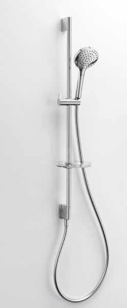 Brausestangenset 90cm mit integrierten Wandanschlussbogen, chrom
