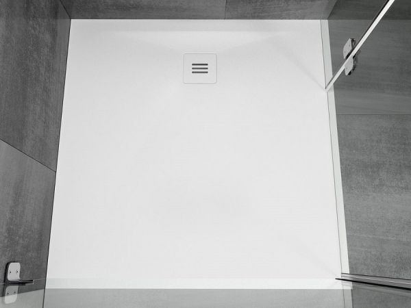 RIHO Veltet Sole Solid Surface Duschwanne 90x90x3cm, weiß seidenmatt