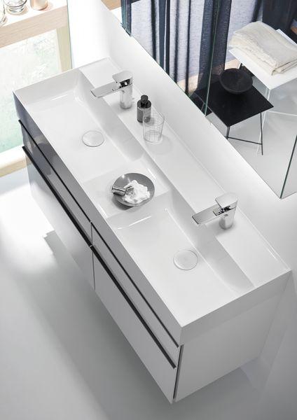 Burgbad Yumo Mineralguss-Doppelwaschtisch mit Waschtischunterschrank, 4 Auszüge, 131,5cm SFKO132F3725C0001G0179