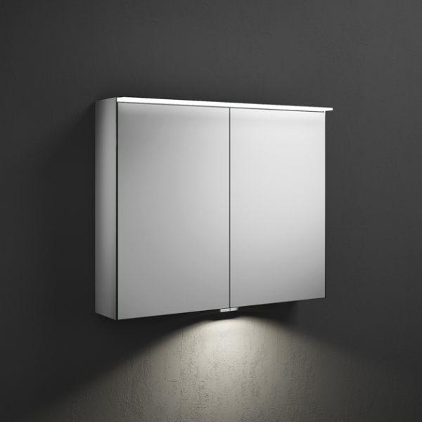 Burgbad Yumo Spiegelschrank mit horizontaler LED-Beleuchtung und 2 Spiegeltüren, 80,6x67cm SPIZ080PN391